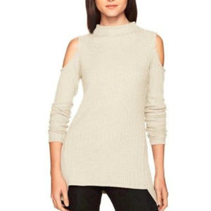 Kensie Ribbed Sweater Knit Cold Shoulder Top XL